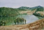 ranu kumbolo lake, watercolor A3 2013