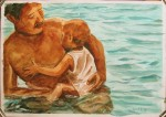 swim with child, watercolor A3 2013